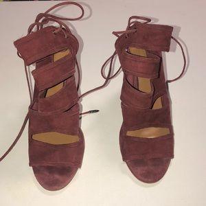 Aquazzura suede lace up shoe